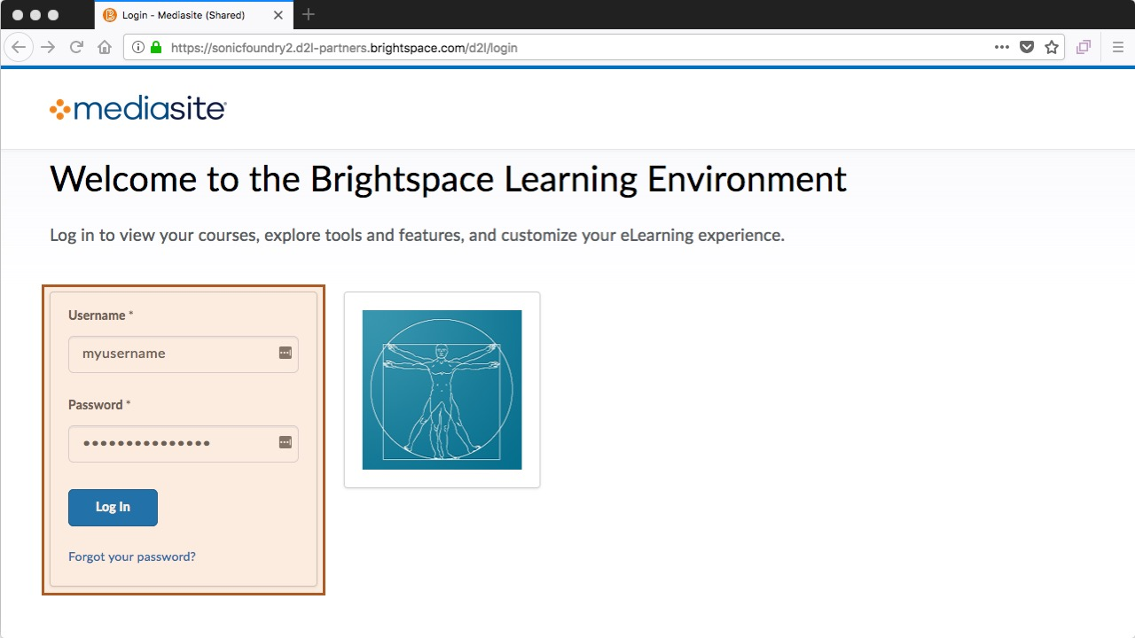 Brightspace - enter username and password
