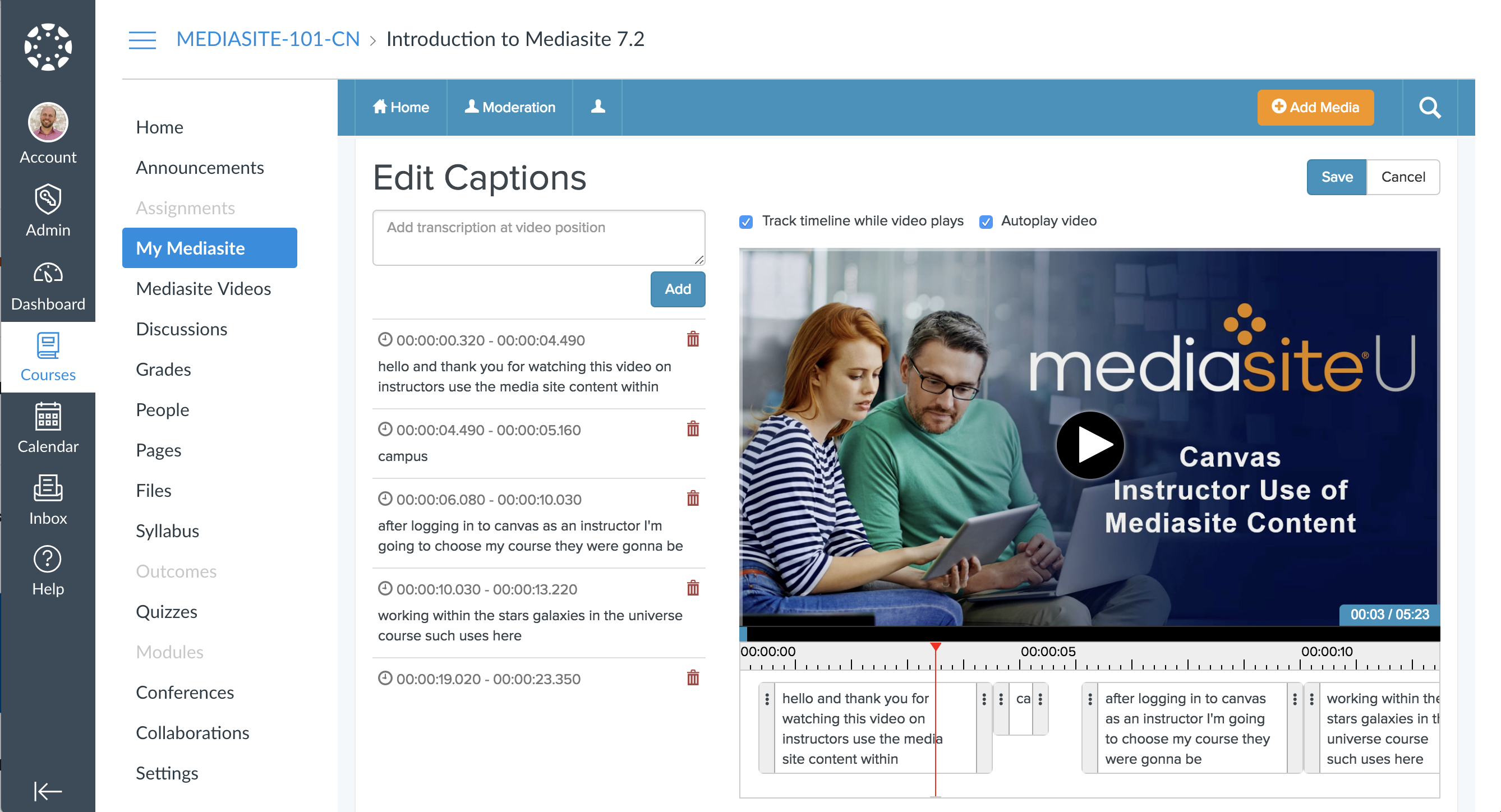Editing captions from Canvas