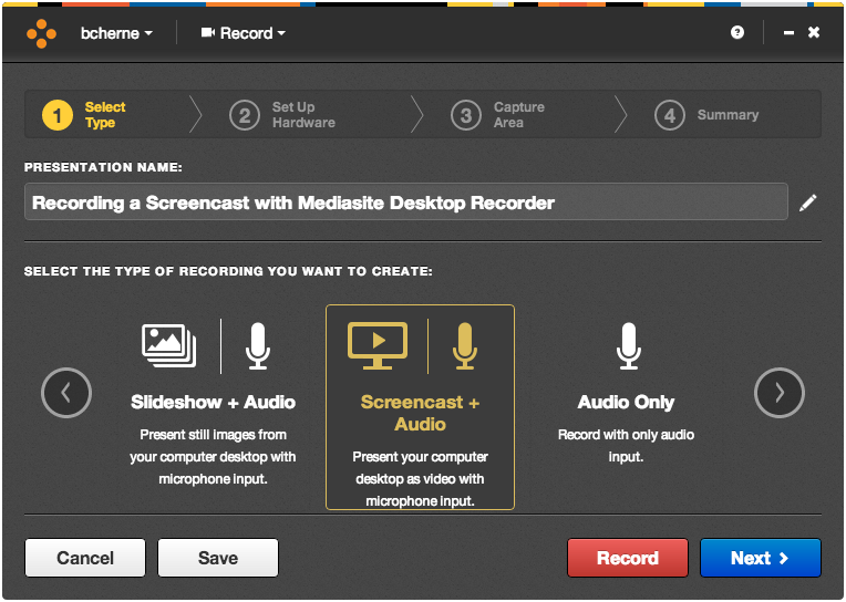 Mediasite Desktop Recorder Start Page