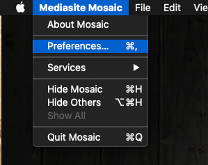 Mediasite Mosaic Preferences for macOS