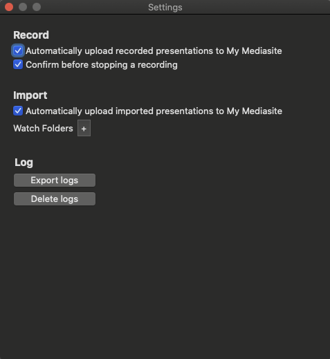 Mediasite Mosaic for macOS Settings