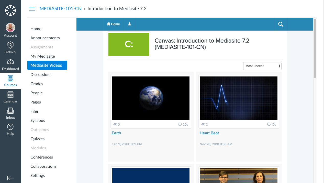 Mediasite Video Collection in Canvas
