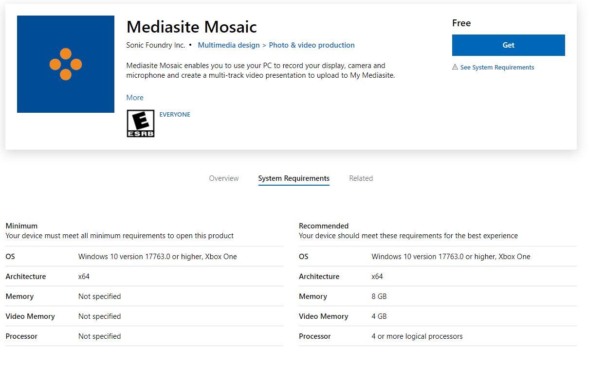 Mosaic System Requirements