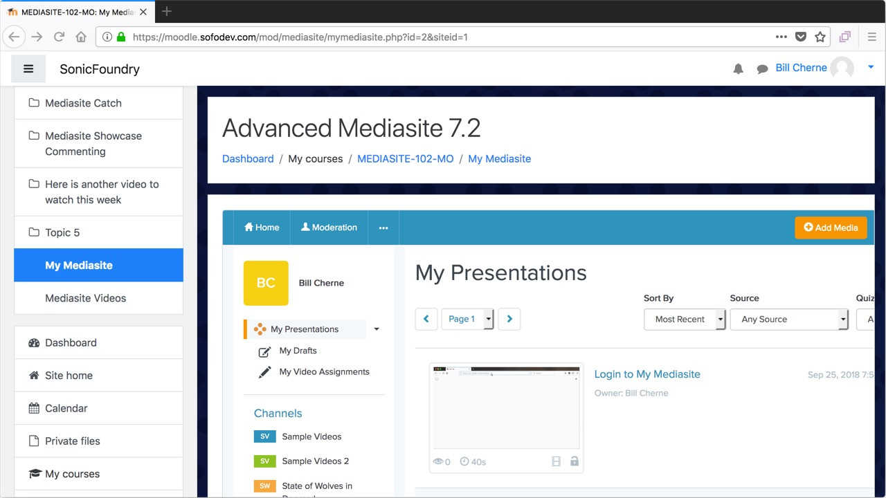 Use My Mediasite within Moodle