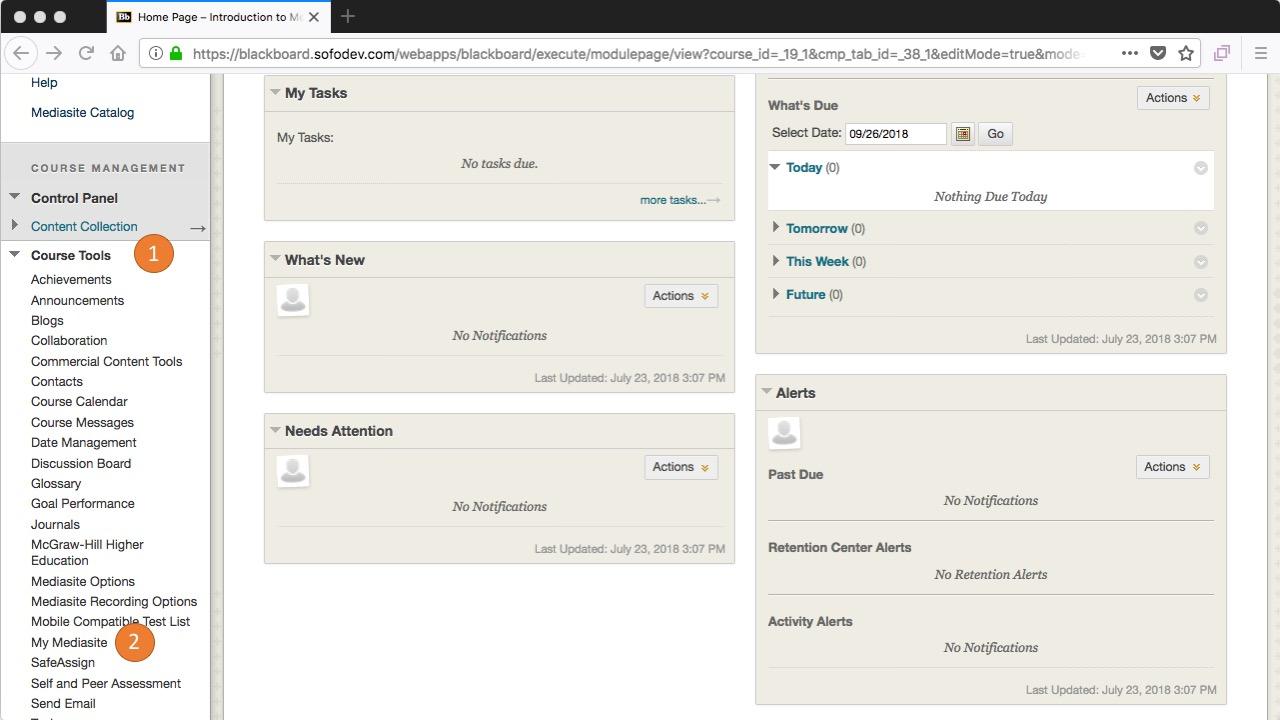 blackboard - select My Mediasite