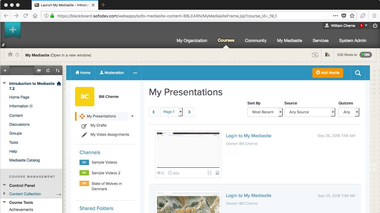 blackboard - using My Mediasite